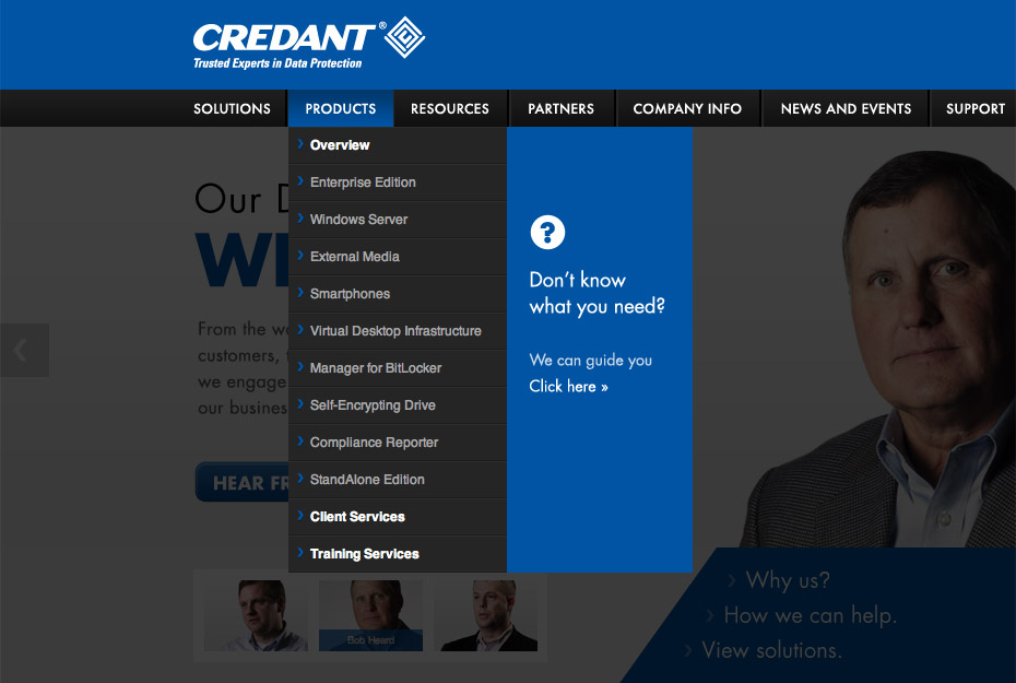 Credant Technologies Product Selector