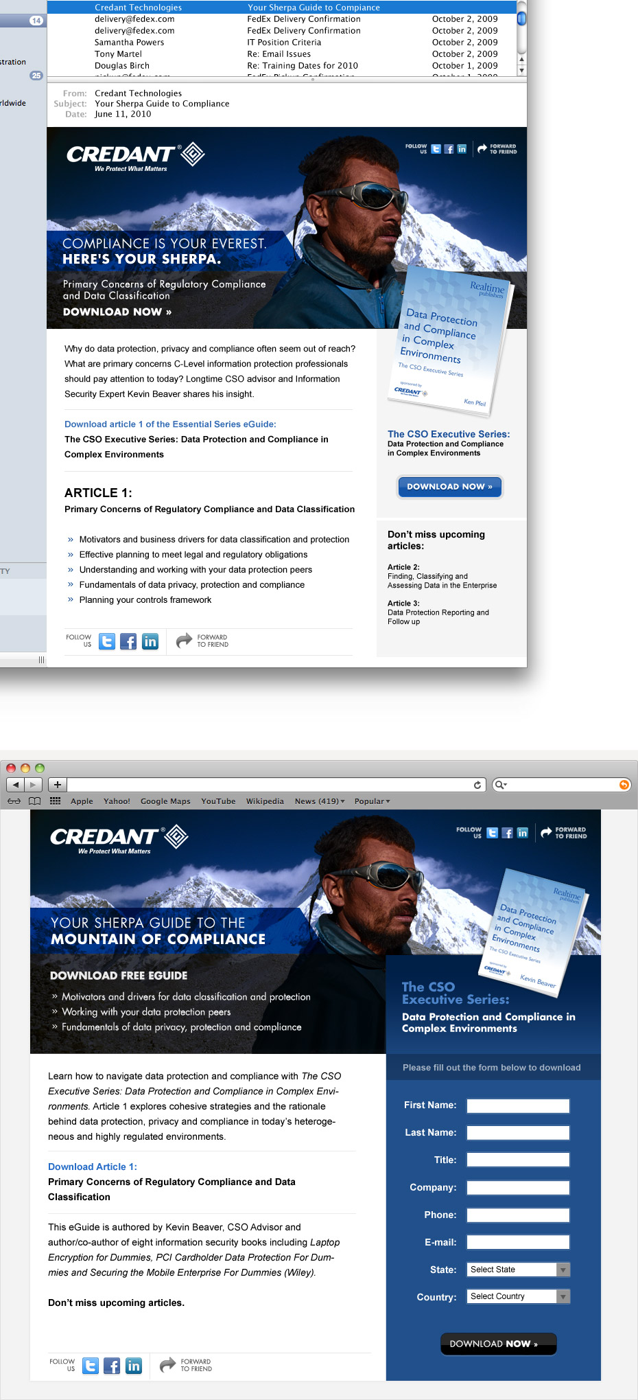 Credant Compliance Campaign Email & Landing Page