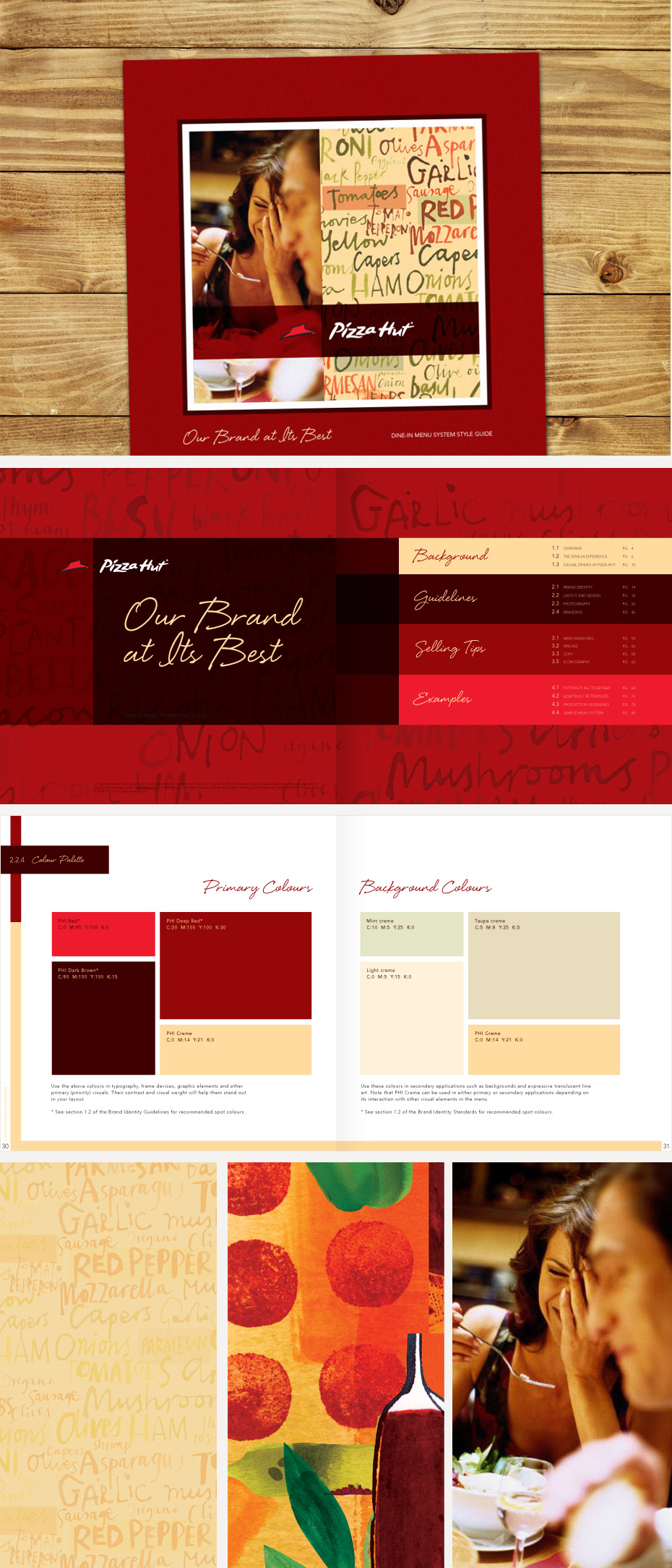 Pizza Hut Menu Style Guide Cover, Color Palette & Imagery