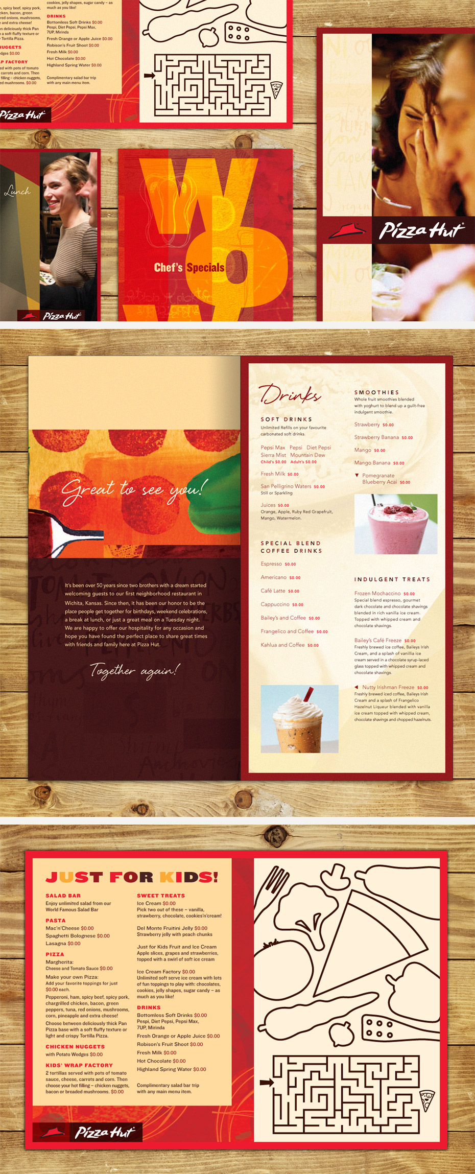 Pizza Hut Menu Cover, Drink Menu & Kids Menu