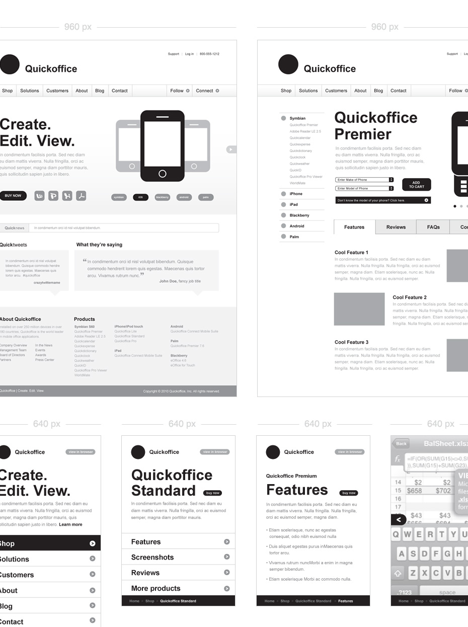 Quickoffice Wireframes